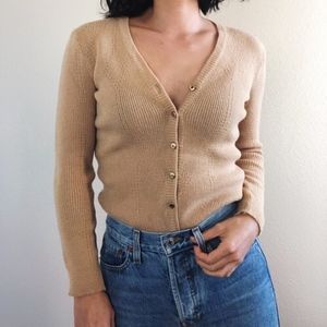 Vintage Slim Fit Cardigan Sweater - Camel Tan